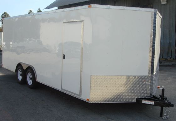 8.5x20 Car Hauler Enclosed Cargo Trailer V Nose Ramp