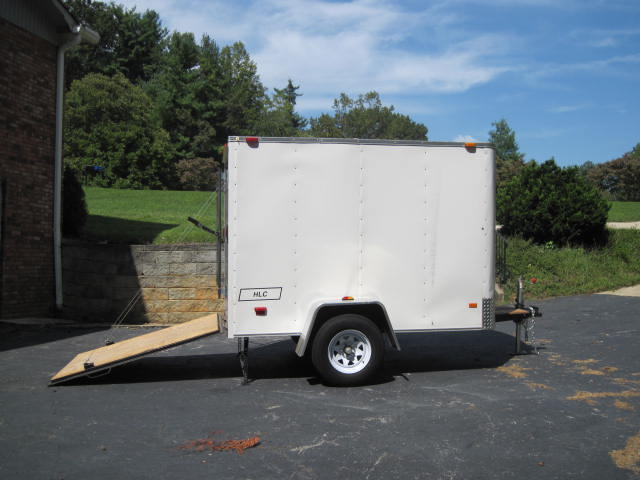 Enclosed Trailer w/ Ramp, Tie-Downs, Jacks, Lock, Spare