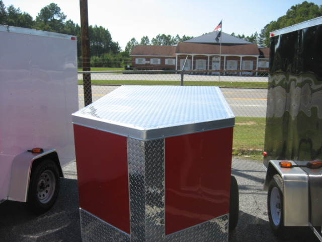 Brand New 4X6SA Red Enclosed Trailer