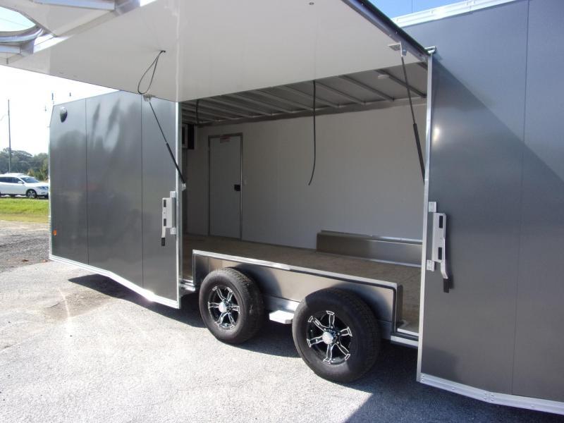 2020 Mission 8.5x24 char coal spread axle ramp door elite ecsape door