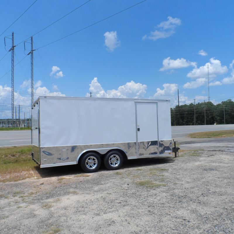 2020 Covered Wagon 8.5x16 mcp white ramp door